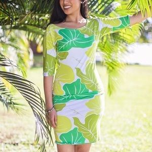 Simply Sisters Short Kuʻuipo Dress in Green Kalo
